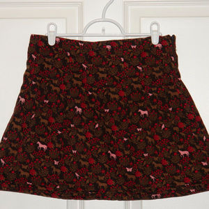 Lands' End Brown Corduroy Mini Skirt Horses 14